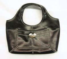 http://stores.ebay.com/theanothercorner/  Black Ladies Purse by Nine West, Silver Emblem, Handles, Small  Womens Hand Bag #NineWest #Baguette