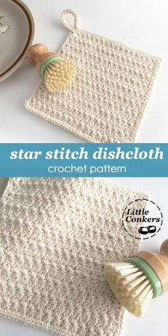 Learn to crochet the star stitch and make a useful at the same time with this simple Star Stitch Dishcloth Crochet Pattern. The design features an optional hanging loop and makes lovely gifts. Star Stitch Dishcloth Crochet Pattern - Little Conkers Crochet Star Stitch, Crochet Stars, Easy Crochet, Quick Crochet Gifts, Crochet Birds, Tutorial Crochet, Crochet Animals, Crochet Potholders, Crochet Motifs