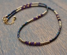 Amethyst Beaded Necklace, February Birthstone Necklace, Boho Chic Gemstone Necklace, Dainty Gemstone Layering Necklace, Womens Necklace by TamDavisDesigns on Etsy Diy Necklace, Gemstone Necklace, Layered Necklace, Necklace Ideas, Amethyst Necklace, Pearl Necklace, Beaded Jewelry, Handmade Jewelry, Beaded Bracelets
