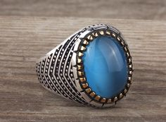 925K Sterling Silver Gemstone Man Ring With Natural Cat's Eye Stone (All Sizes) #IstanbulJewellery #Statement