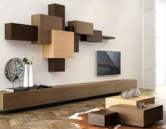 Decorative Shelving System in Overlapped Geometric Design – Collage - The Great Inspiration for Your Building Design - Home, Building, Furniture and Interior Design Ideas Tv Unit Design, Tv Wall Design, House Design, Living Room Tv, Living Room Furniture, Tv Furniture, Building Furniture, Modern Furniture, Home Rack