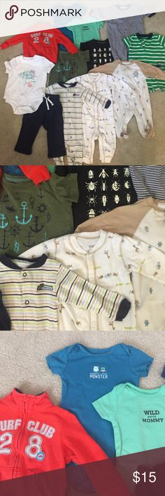 Baby boy 6-9 month lot of 12 5 footies/body outfits, 3 onsies, 2 shirts, 1 jacket, 1 pants. all used, good condition no holes. mostly carters brand. i can split up items if you want. Other
