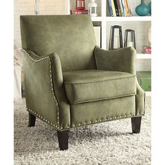 Acme Furniture Inc. Olive Nailhead-Trim Julio Armchair ($290) ❤ liked on Polyvore featuring home, furniture, chairs, accent chairs, olive green furniture, nail head furniture, nailhead arm chair, nailhead accent chair and padded chairs