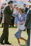 June 16, 1985. This was the Constantine Cup polo match, named for ex-King Constantine of Greece. In photos 1 and 2, Diana is curtsying to Constantine.
