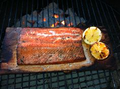Apple wood smoked cedar plank salmon. SCRUMPTIOUS!