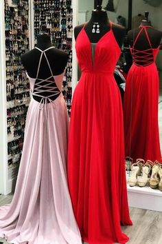2019 Simple Long Prom Dress, Pink Prom Dress, Red Prom Dress, Simple Prom Dress with Lace Up Back Chiffon Evening Dresses, Formal Evening Dresses, Formal Gowns, Chiffon Dress, Lace Dress, Dress Formal, Dress Long, Long Dresses, Lovely Dresses