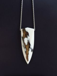 Tooth Shaped Necklace Statement Necklace Wood Epoxy by WoodAllGood