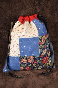 Patchwork Drawstring Bag.