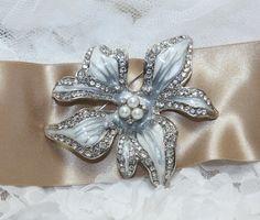 Floral Enamel Faux Pearl Crystal Rhinestone Wedding by blinggarden, $23.99