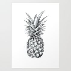 Pineapple Art Print by Sibling & Co. | Society6