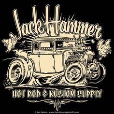 the new JackHammer Hot Rod & Kustom Supply T-shirt - hot off the press! grab them at www.jackhammerspeedshop.com