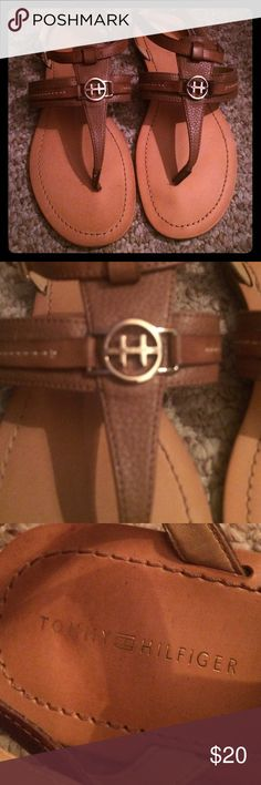 Tommy Hilfiger brown sandals! Re-posh, too big for me. Perfect condition sandals with the H logo on the front. Medium brown! Like new condition! Tommy Hilfiger Shoes Sandals