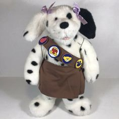 Build A Bear Girl Scout Brownie Stuffed Dalmatian Toy Plush Uniform Patches GSA #BuildABearWorkshop Brownie Girl Scouts, Girl Scout Cookies, Brown And White Horse, Girl Scout Thin Mints, Girl Scout Uniform, Bear Girl, Dalmatian Dogs, Cute Plush, Bear Paws