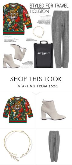 """How to Style a Black Givenchy Bag with a Bold Gucci Sweater"" by outfitsfortravel ❤ liked on Polyvore featuring Gucci, Stuart Weitzman, Ippolita, Acne Studios, Givenchy and contemporary"