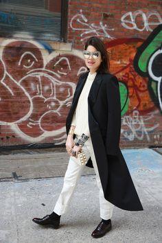white fisherman sweater+ white denim + oxfords + socks + dark coat/jacket