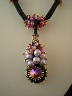 Vineyard Jewel Necklace  A version of a design in Laura McCabe's 'Crystal Jewelry' book, Vineyard Necklace,