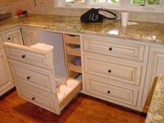 trash bin cabinet with side storage