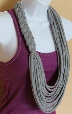 Gray Braided Floral Necklace Scarf Tshirt by Handmadebyjojaecks, 20.00