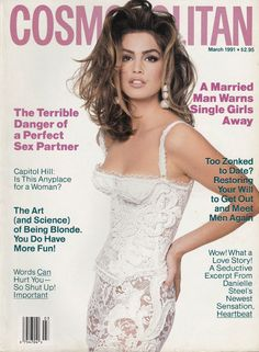 In honor of Cosmopolitan's anniversary, Cindy Crawford posted this photo of her on cover in Cindy Crawford, 90s Fashion, Fashion Models, Vintage Fashion, High Fashion, Naomi Campbell, Top Models, Vanity Fair, Helen Gurley Brown