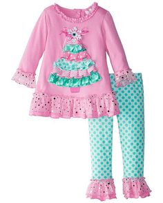 50faf174b840 Rare Editions Pink Mint CHRISTMAS TREE Leggings set (girls 12m-6x) - very  sweet for  Christmas! ~ Color Me Happy Boutique