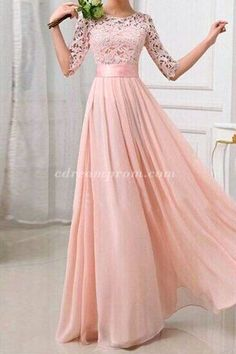 long sleeves, baby pink prom dress