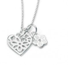 Naszyjnik dla Dziewczynki - Srebrny z Diamentem Serce i Kwiatuszek