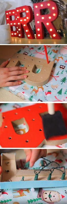 red-marquee-lights | 25+ DIY Christmas Decor Ideas for the Home