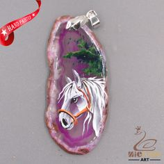 HAND PAINTED HORSE AGATE SLICE GEMSTONE NECKLACE PENDANT BEAD ZZ30 00877 #ZL #PENDANT