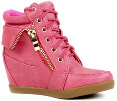 Naughty Gal Shoes : JJF Lace-up High Top Wedge Sneaker Bootie