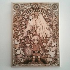 Hand made Legend of Zelda pyrography wood burning stained glass wall art