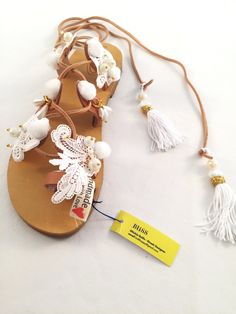 """Leather Sandals """"Epimithea"""" (Handmade to order) weddings sandals / white color / bridesmaid / gift sandals / woman / unique / crystal / lace by BlissDesigners on Etsy"""