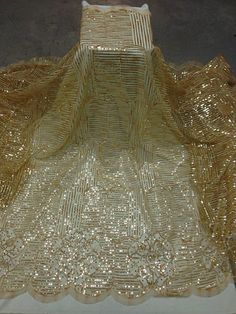 """GOLD MESH W/EMBROIDERY SEQUINS RHINESTONE  LACE FABRIC 52"""" WIDE 1 YARD"""