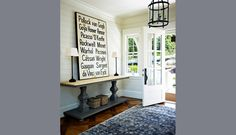 Windover Main — Muskoka - love the entry table, door, and fixture