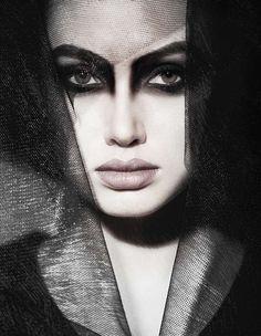 Black tulle makeup
