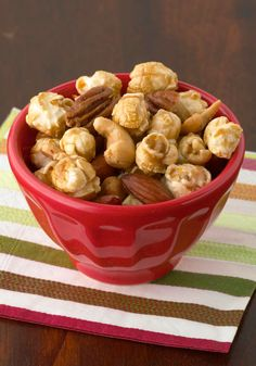 Nutty Caramel Corn Mix -- This easy combo makes a great munch mix. Plus, it's ready to snack on in just 5 minutes time.