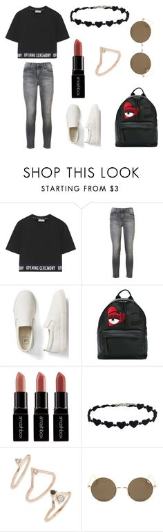 """""""Untitled #346"""" by fashion-with-dudette on Polyvore featuring Opening Ceremony, Current/Elliott, Gap, Chiara Ferragni, Smashbox and Topshop"""