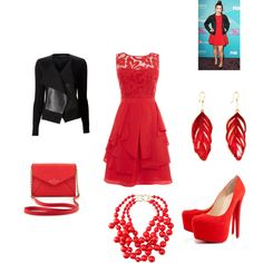 bright red, created by melissalank on Polyvore