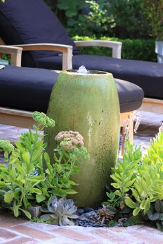 Easy fountain feature from tall planter.
