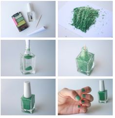 take a loose pigment or powder shadow. using a bottle of clear nail polish, roll your paper into the shape of a funnel and add the eyeshadow into the clear nail polish bottle. you might want to empty some of the clear nail polish out before so it doesn't overflow (or use nail polish that's opened already). Use a toothpick to mix up the color into the bottle. Shake until all the powder is evenly distributed.  Paint your nails!