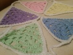 Hand crocheted pastel bunting by Twiddliebits on Etsy