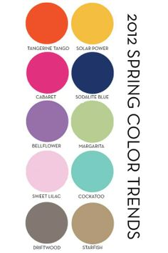 2012 spring pantone trend colours