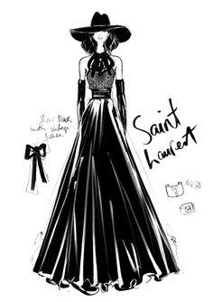 Robe par Megan Hess pour la maison de couture Yves Saint Laurent