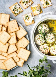 Three quick, easy, and delicious spreads for crackers. Make Hummus, Homemade Hummus, Cracker Spread Recipe, Smoked Salmon Mousse, Appetizers For A Crowd, Pickled Red Onions, White Bean Soup, Roasted Garlic, Fresh Herbs
