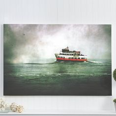 "boat canvas print / 16x20 24x36 canvas print / large canvas wall art / blue green wall hanging / ocean canvas print / ""Pier 39 boat"""