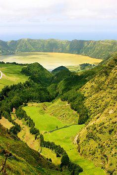 Volcanic crater lake, Lagoa das Sete Cidades, on the island of São Miguel, The Azores by Paulo Santos