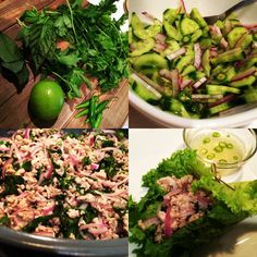 Thai Food (Pork Larb lettuce wraps)