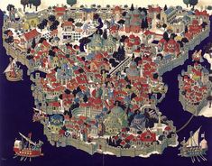 Map of Constantinople imitating the style of medieval city maps