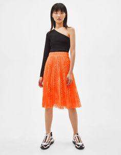 95bf560741a9 Pleated midi skirt | Bershka #new #in #newin #bershka #bershkastyle #