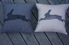 """NEW!  Handmade + individually hand painted by Claire Webber, Hobart, Tasmania.    36cm """"Run, Rabbit, Run!"""" 100% charcoal cotton (L) 36cm """"Run, Rabbit, Run!"""" natural linen.   For more info email: webberclaire1@gmail.com"""