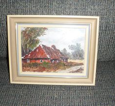 SMALL LANDSCAPE PAINTING/Painting of Old Bavarian Barn by BYGONERA